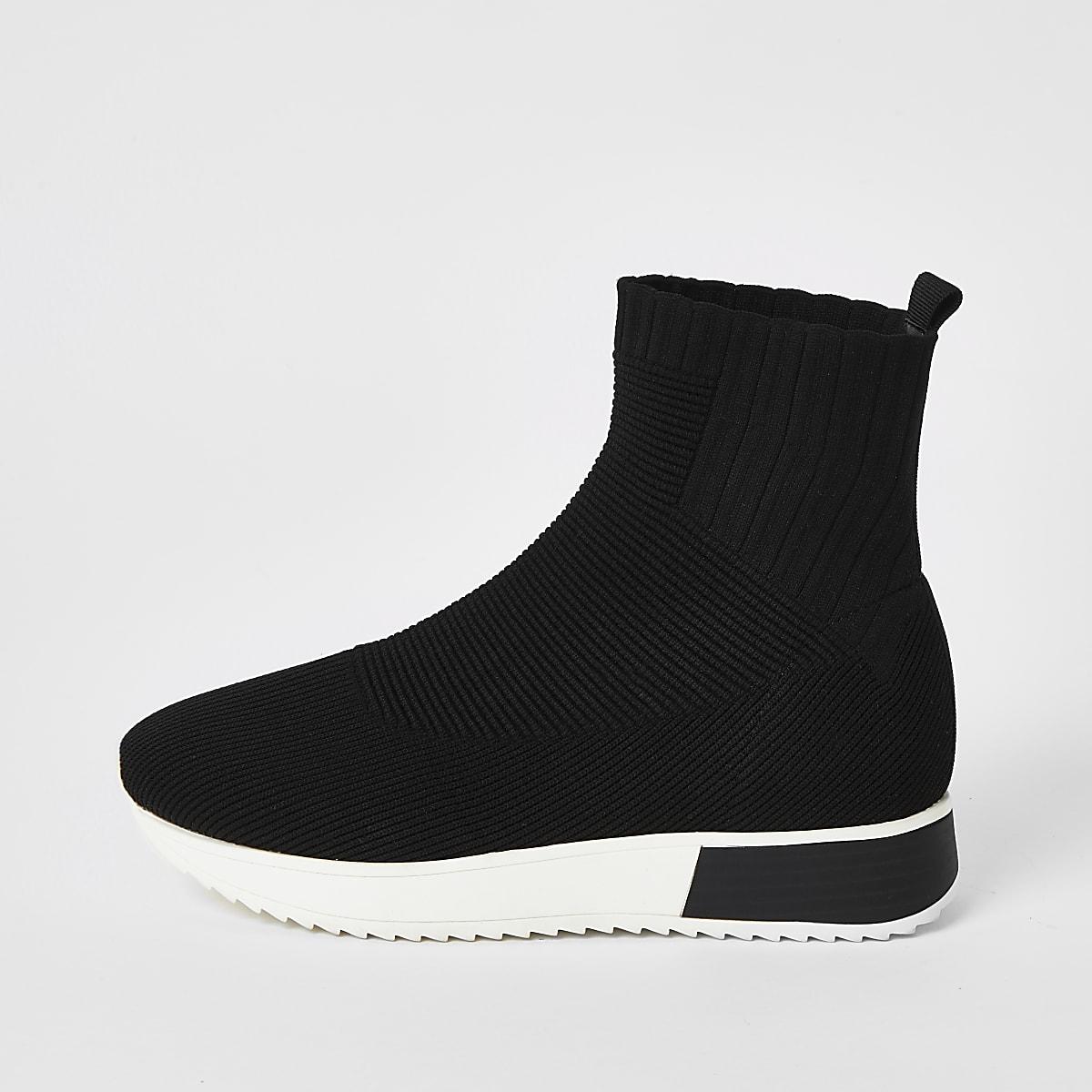 Zwarte gebreide sokvormigesneakers