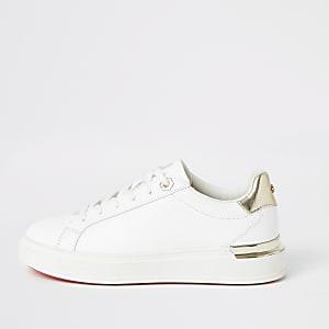 Klobige Schnür-Sneaker in Weiß für Mädchen