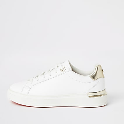 White lace-up chunky trainers