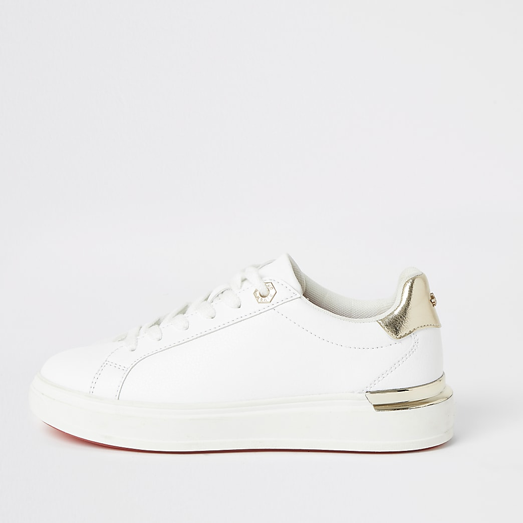 White lace-up chunky platform trainers