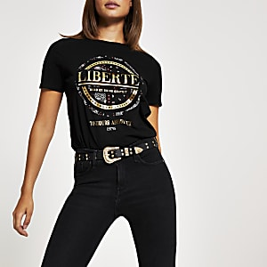 T-shirt imprimé métallisé à manches courtes noir