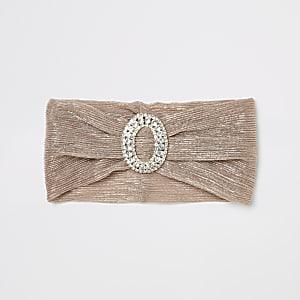 Roze metallic hoofdband met siersteentjes voor