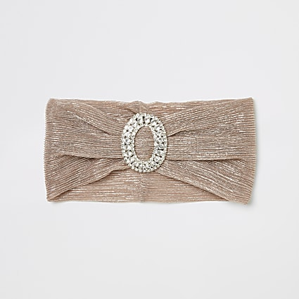 Pink metallic diamante front headband