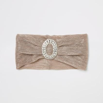 Pink metallic diamante front headband