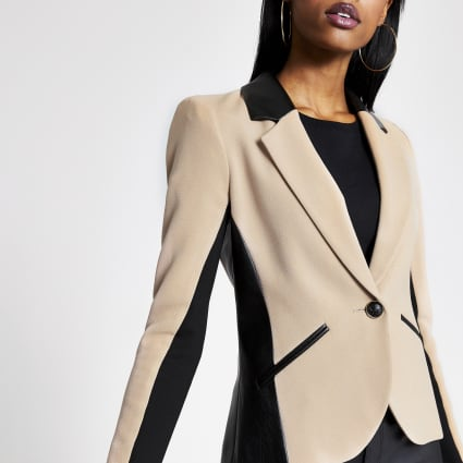 Beige PU blocked blazer