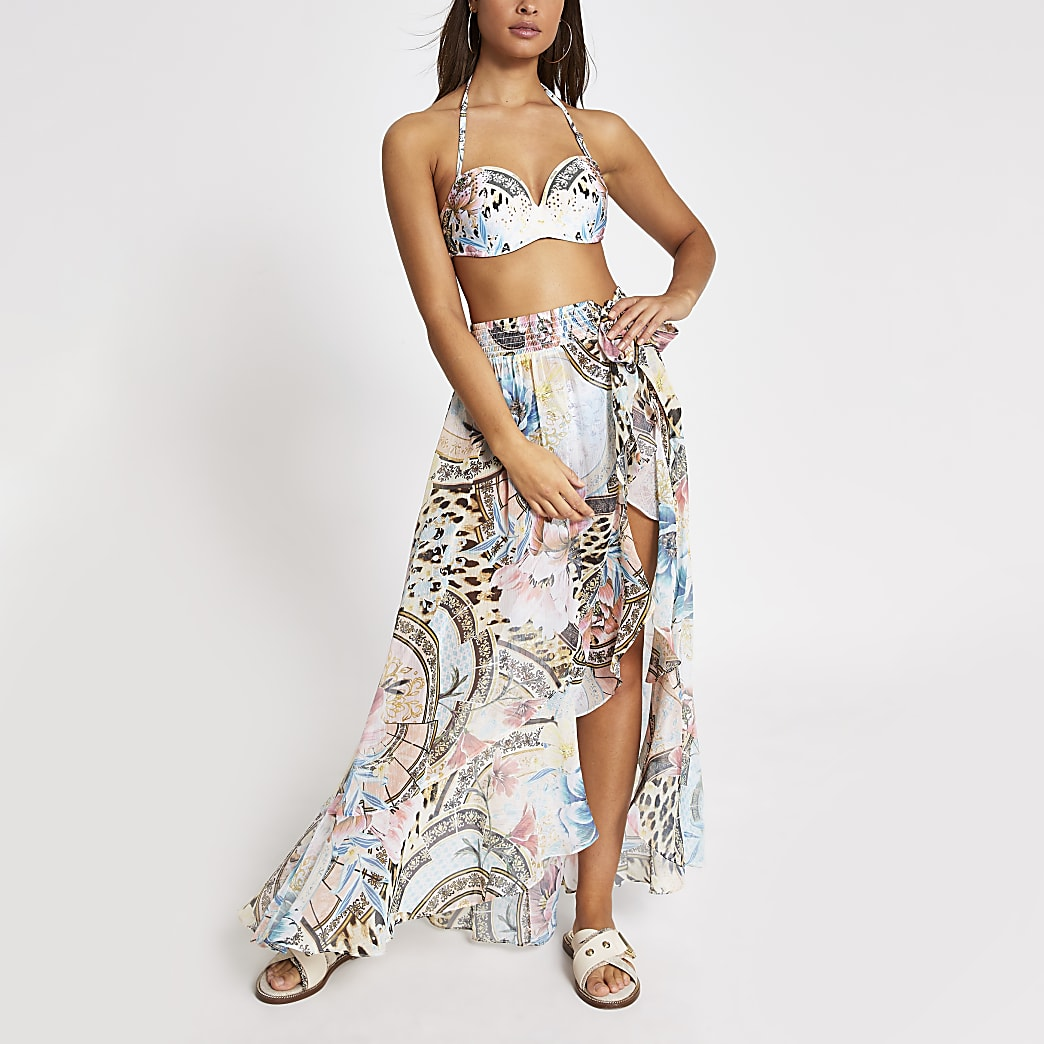 Blue floral wrap tie sheer maxi beach skirt