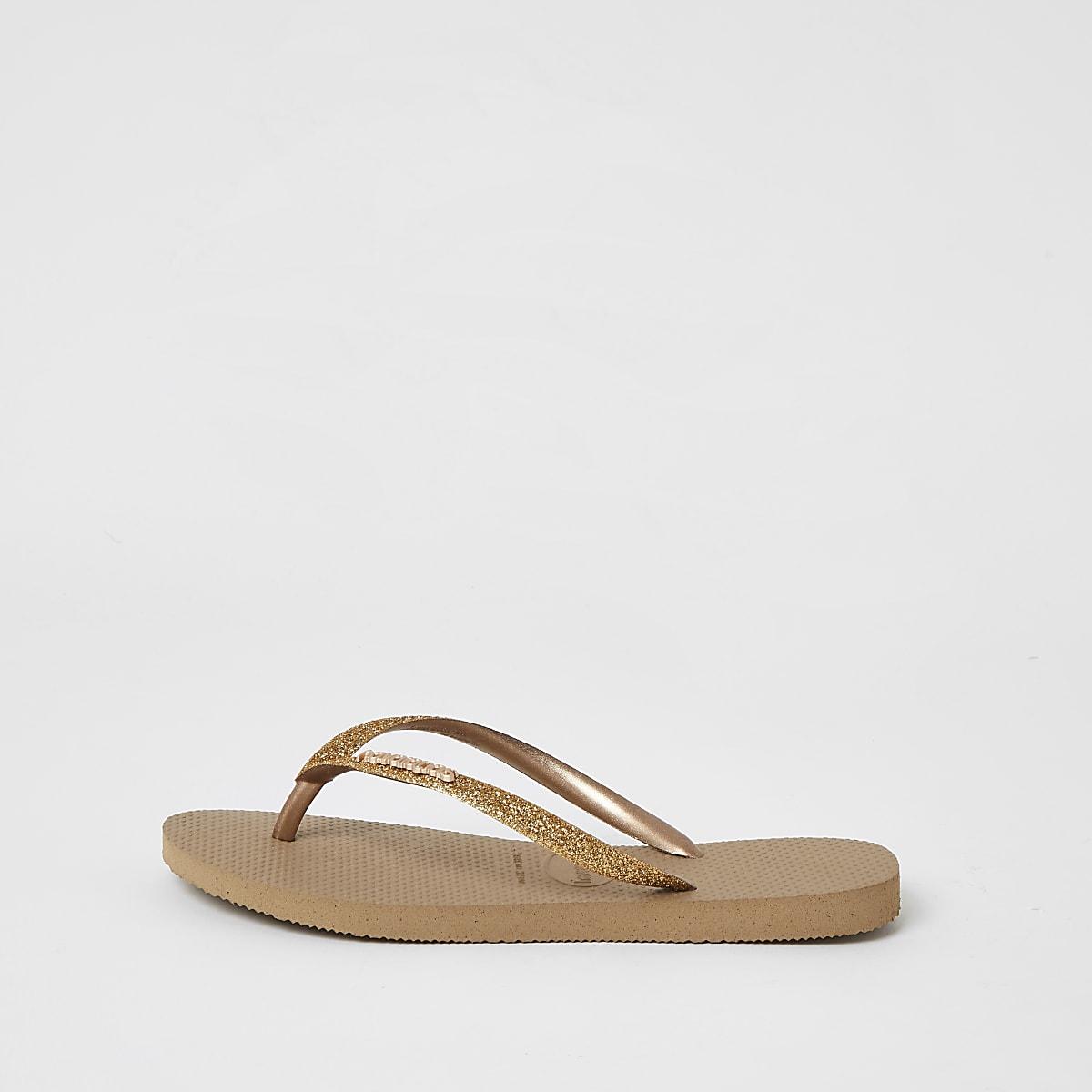 Havianas gold glitter slim flip flops