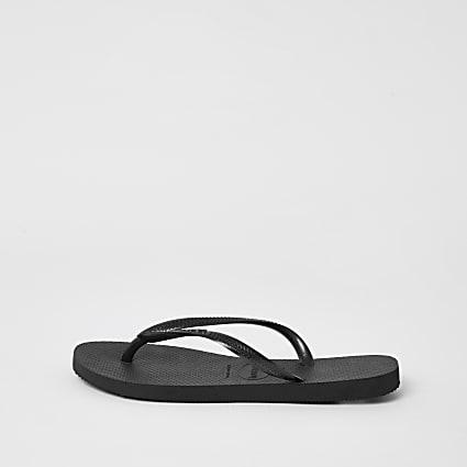 Havianas black slim flip flops