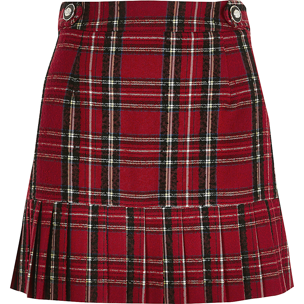 Red tartan pleated peplum mini skirt