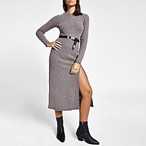 Paarse geribbelde midi-trui-jurk