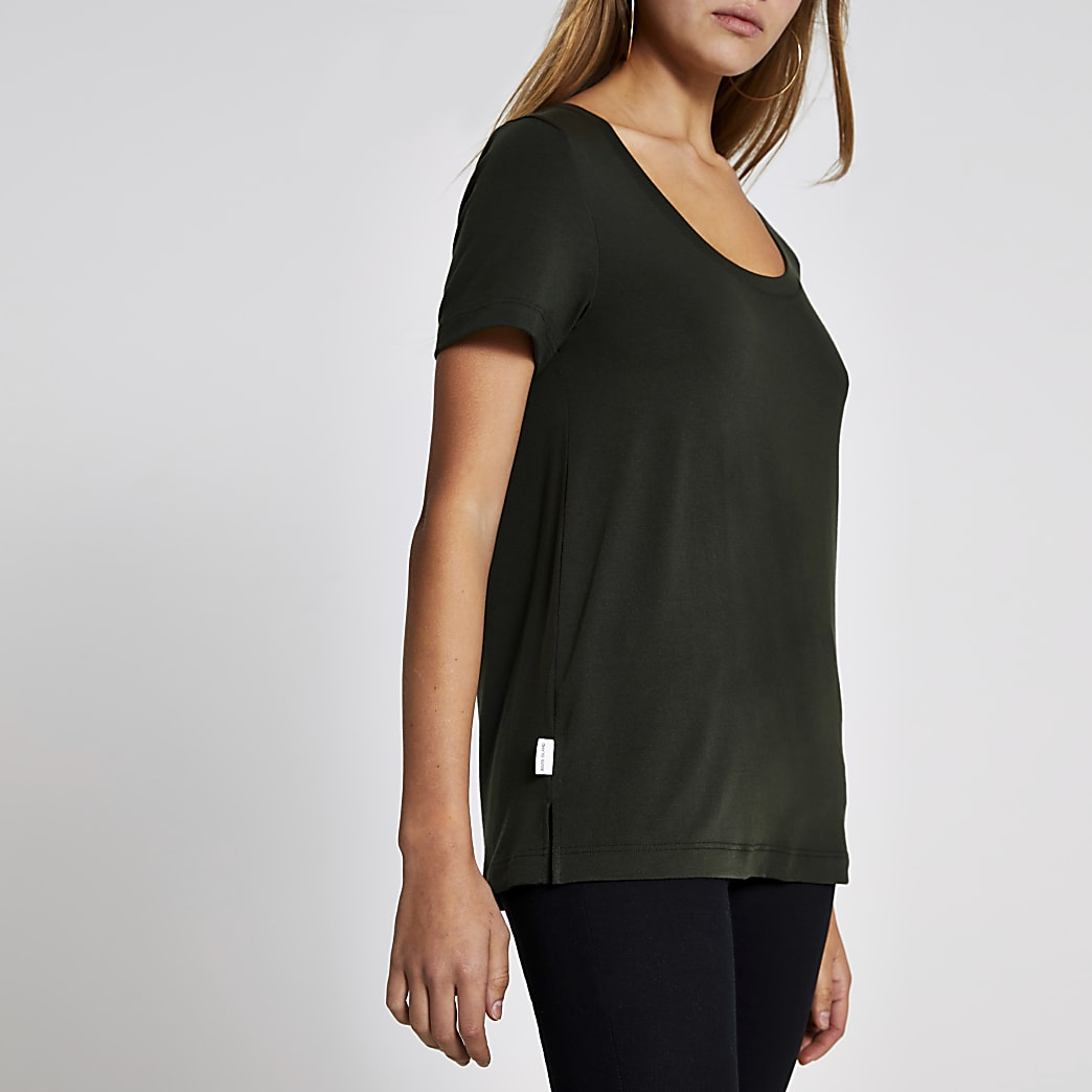 Khaki premium jersey scoop neck T-shirt