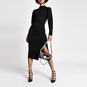 Zwarte bodyconmidi-jurk met lange mouwen