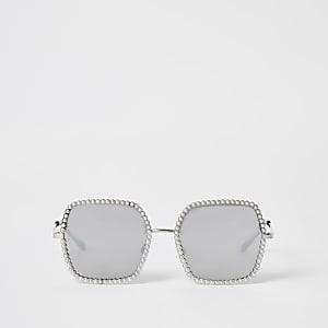 Lunettes de soleilargentéesornées de perles