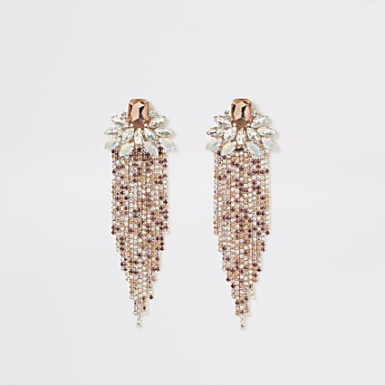 Rose gold jewel diamante drop earrings
