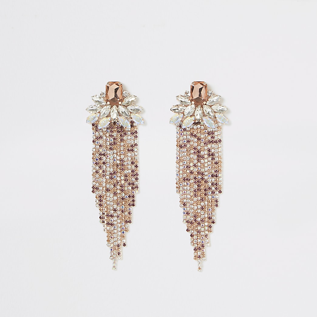 Rose gold colour jewel diamante drop earrings
