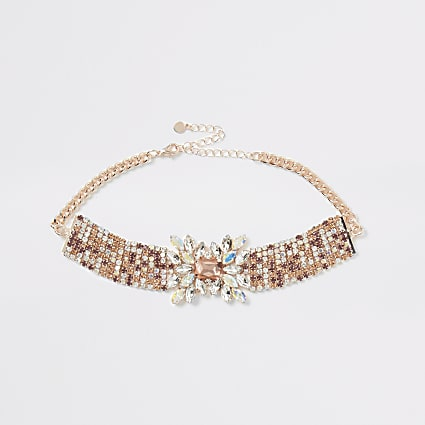 Rose gold diamante statement necklace