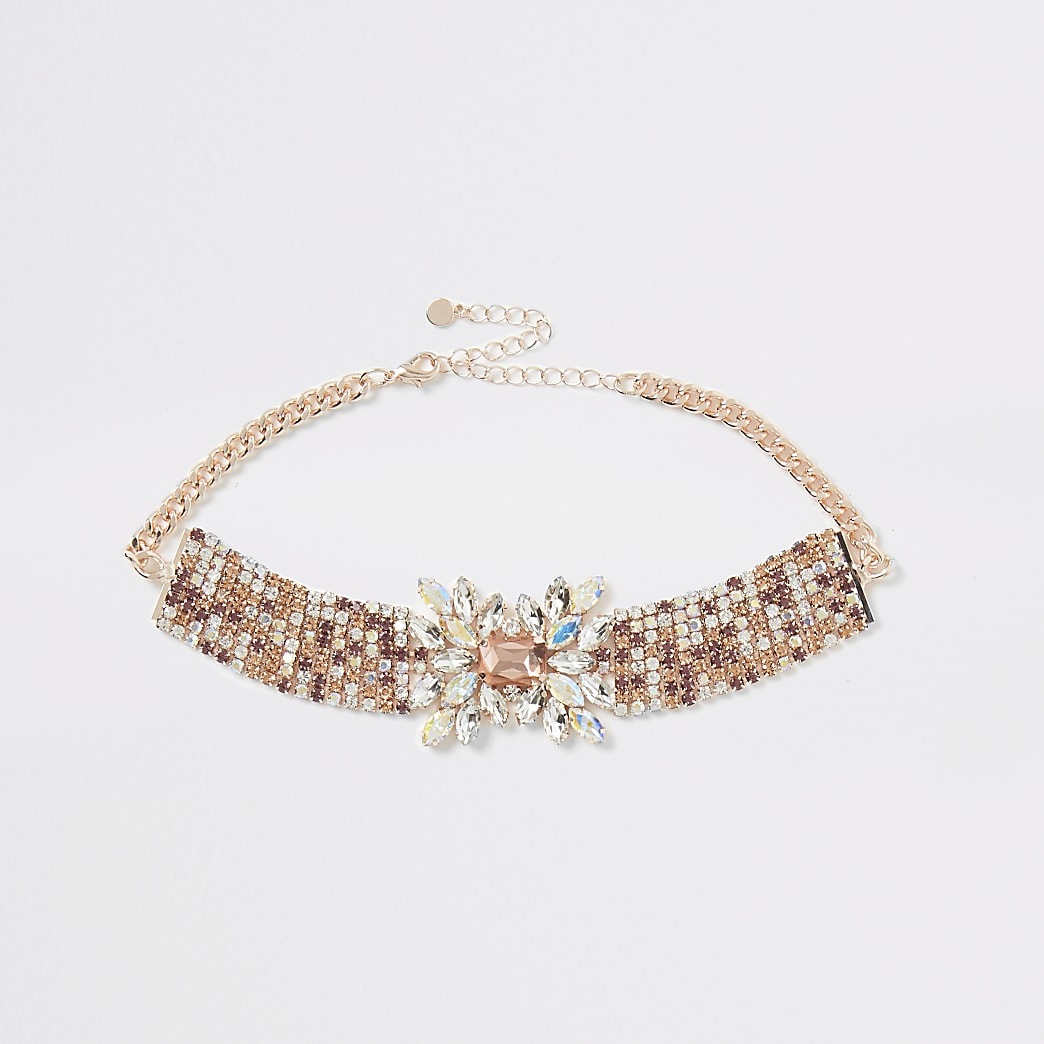 Rose gold tone diamante statement necklace