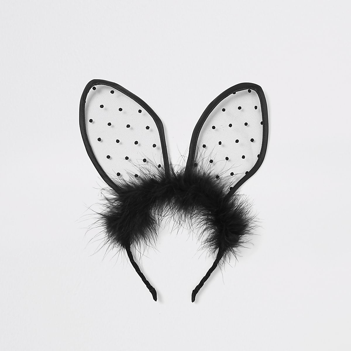 Black polka dot fluffy bunny ear headband