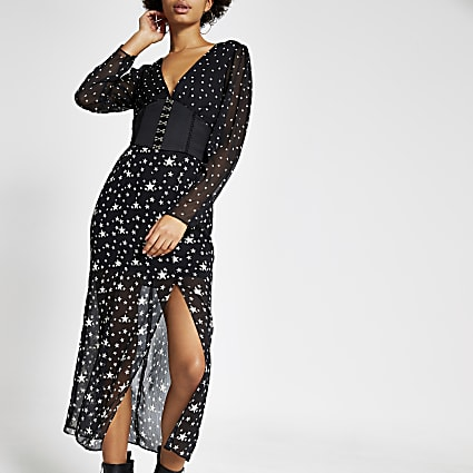 Black star print sheer corset midi dress