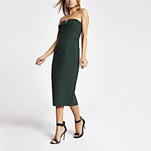 Dunkelgrünes Bodycon-Kleid mit Bandeau-Ausschnitt