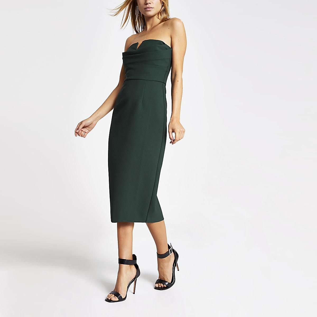 Dark green bandeau bodycon dress