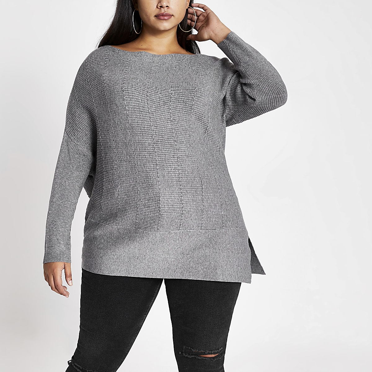Plus grey asymmetric cable knitted jumper