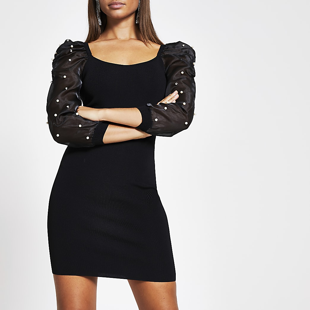 Black embellished organza sleeve mini dress