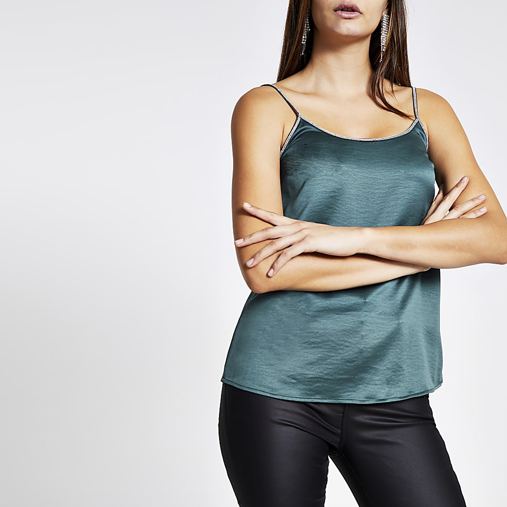 Dark green satin diamante trim cami top