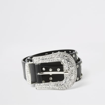 Black diamante studded western buckle belt