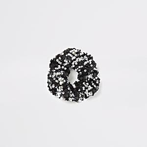 Zwarte scrunchie met lovertjes