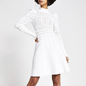 Cream pointelle high neck knitted dress