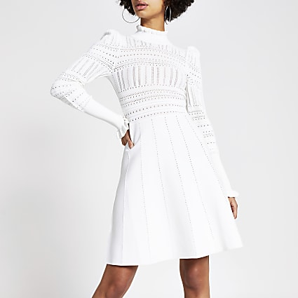 Cream pointelle high neck knitted dress