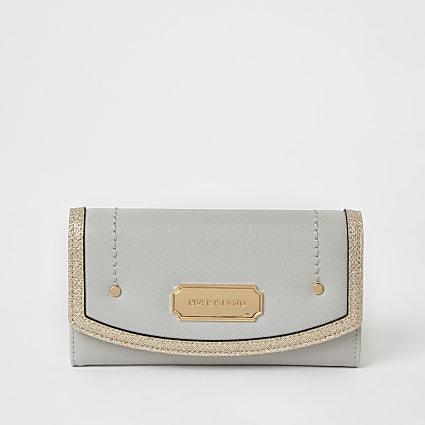Grey glitter trim fold over purse