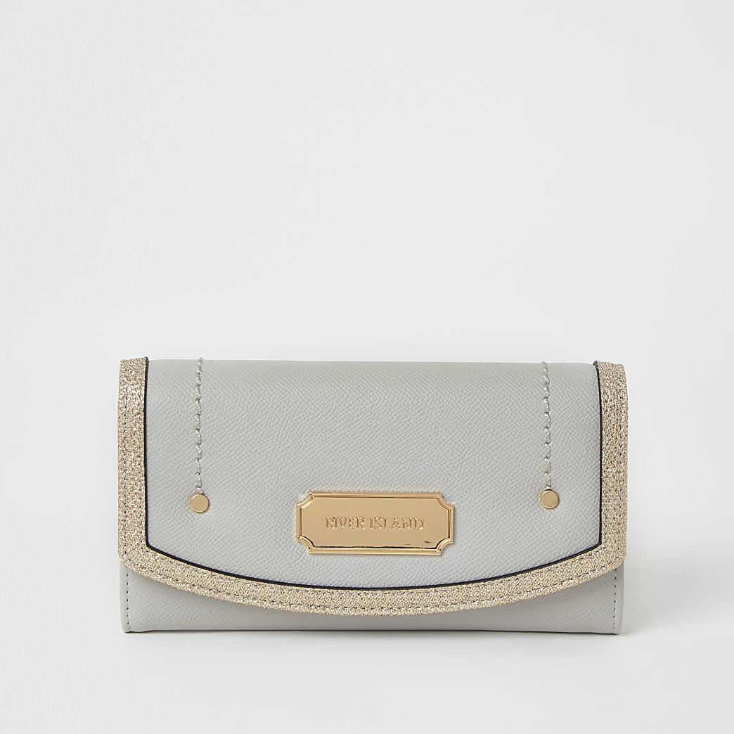 Grey glitter trim fold over purse