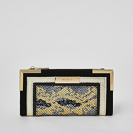 Black metallic snake print foldout purse