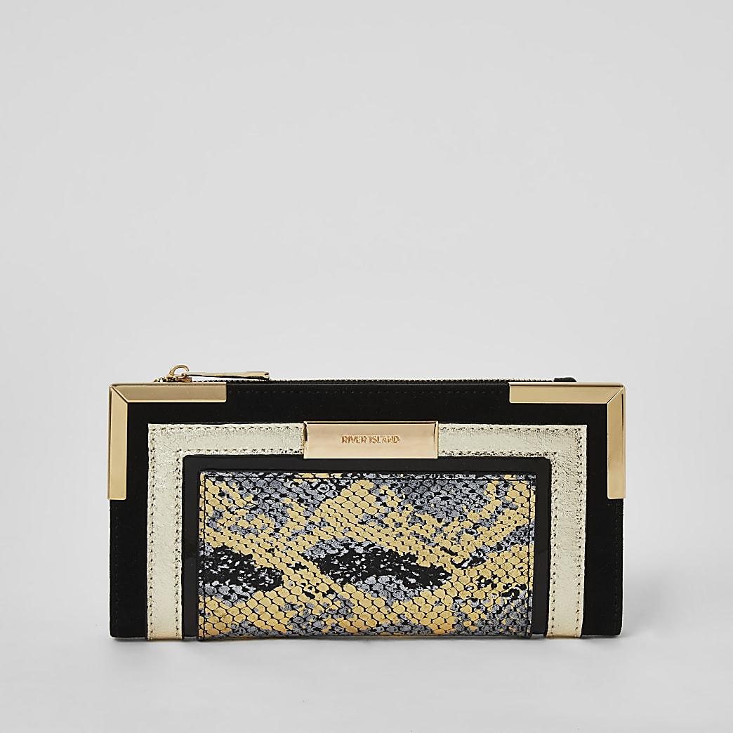 Black metallic snake print foldout purse
