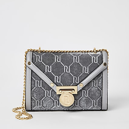 Grey velvet RI embossed cross body bag