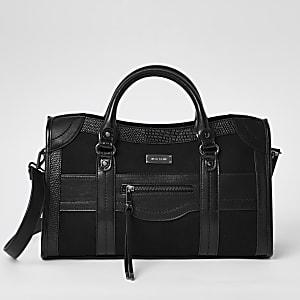 Zwarte grote handtas met rits voor