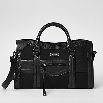 Black zip front large tote bag