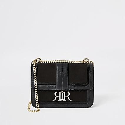 Black faux suede RI underarm satchel bag