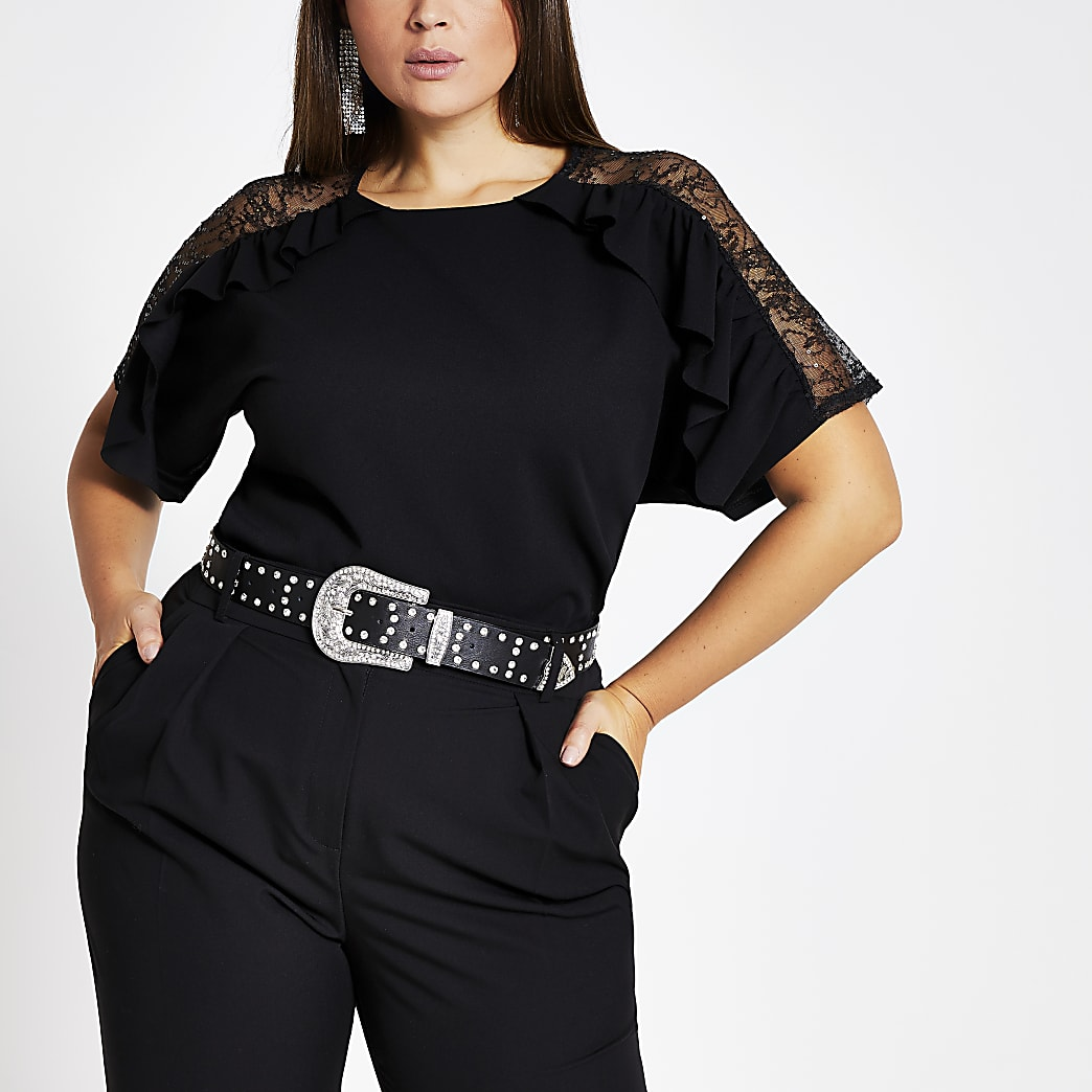 Plus black lace sequin frill sleeve top