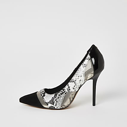 Black snake printed mesh heeled court shoes