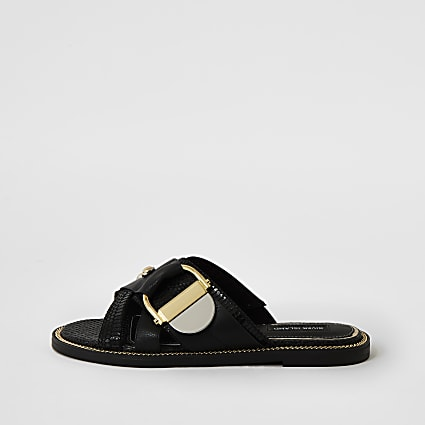 Black buckle studded strap sandals