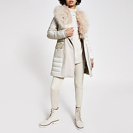 Stone padded longline faux fur jacket