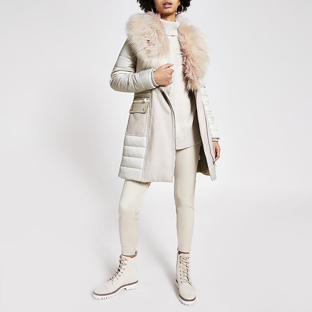 Stone padded longline faux fur jacket