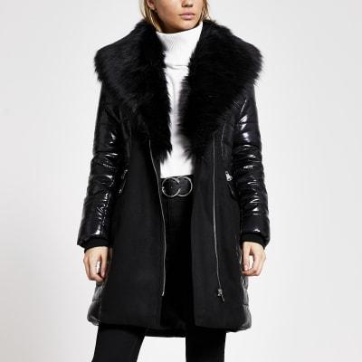 Black padded longline faux fur jacket