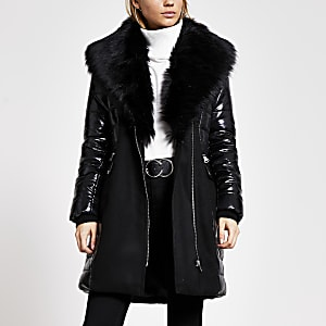 Black padded longline faux fur jacket