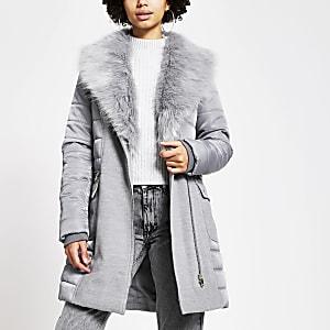 Graue, gefütterte Longline-Jacke mit Gürtel