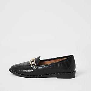 Schwarze Loafers mit Nieten und Krokoprägung