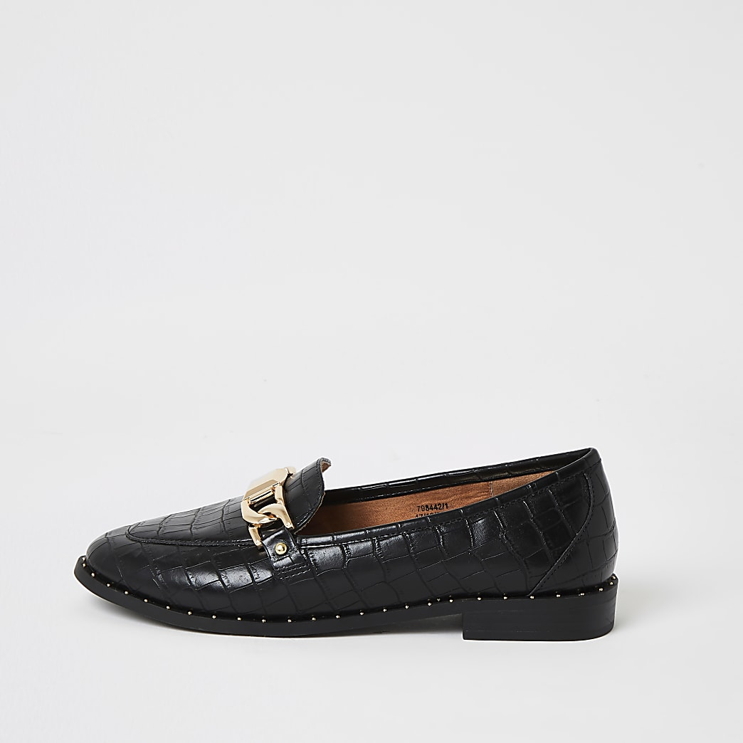 Black croc embossed studded loafers